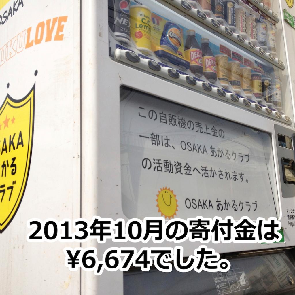 OSAKAあかるクラブ支援自販機 10月の寄付金額
