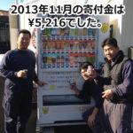 OSAKAあかるクラブ支援自販機 11月の寄付金額