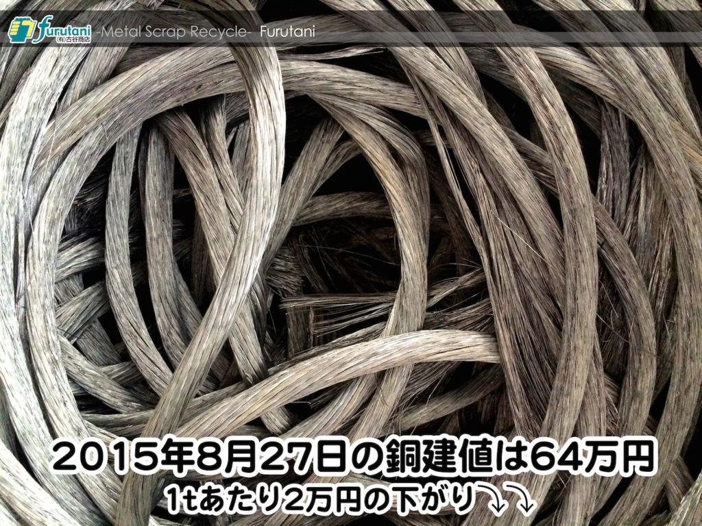 【銅相場情報 2015.8.27】1tあたり2万円下がりの64万円!