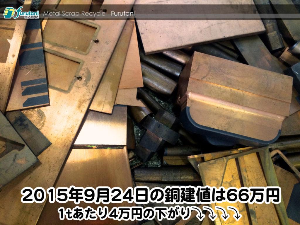 【銅相場情報 2015.9.24】連休明けは4万円の下がり!