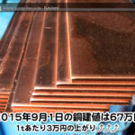 【銅相場情報 2015.9.1】1tあたり3万円上がりの67万円⤴⤴⤴