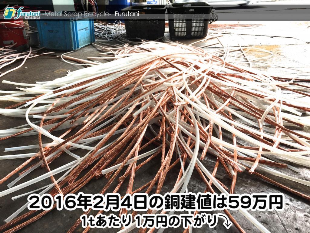 【銅相場情報 2016.2.4】1万円下がりの59万円に改定⤵