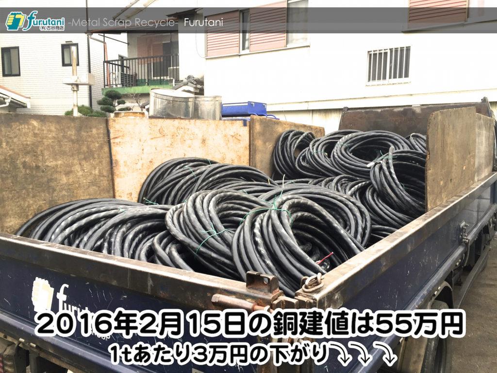 【銅相場情報 2016.2.15】1tあたり3万円下がりの55万円!