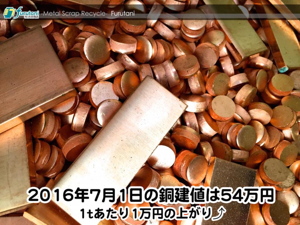 【銅相場情報 2016.7.1】1tあたり1万円上がりの54万円なり☆