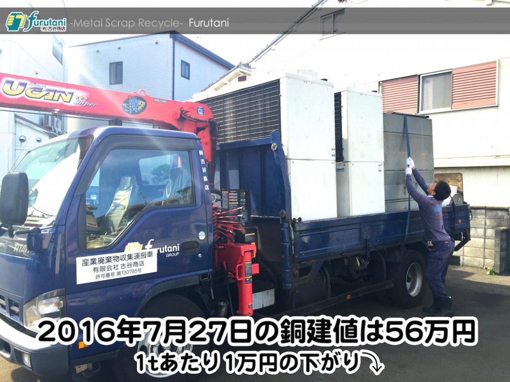 【銅相場情報 2016.7.27】1tあたり1万円下がりの56万円に改定⤵