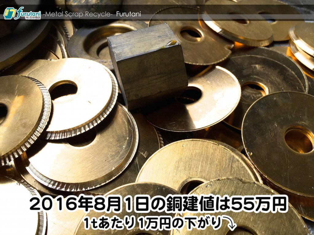 【銅相場情報 2016.8.1】1tあたり1万円下がりの55万円に改定☆