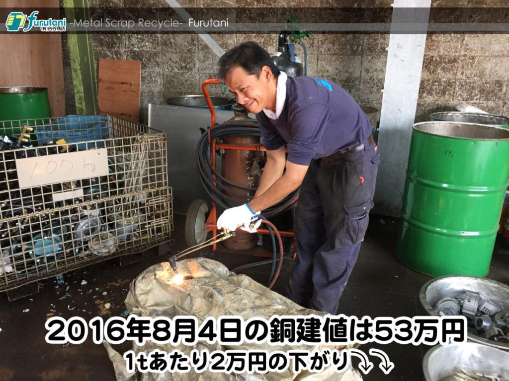 【銅相場情報 2016.8.4】1tあたり2万円下がりの53万円⤵⤵
