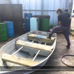 バス釣り用アルミボートの廃船処理作業!