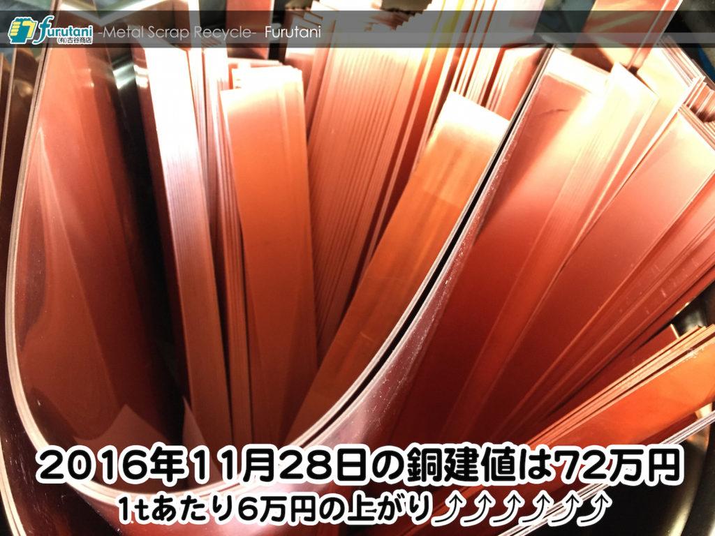 【銅相場情報 2016.11.28】1tあたり6万円上がりの72万円に改定☆⤴⤴⤴⤴⤴⤴
