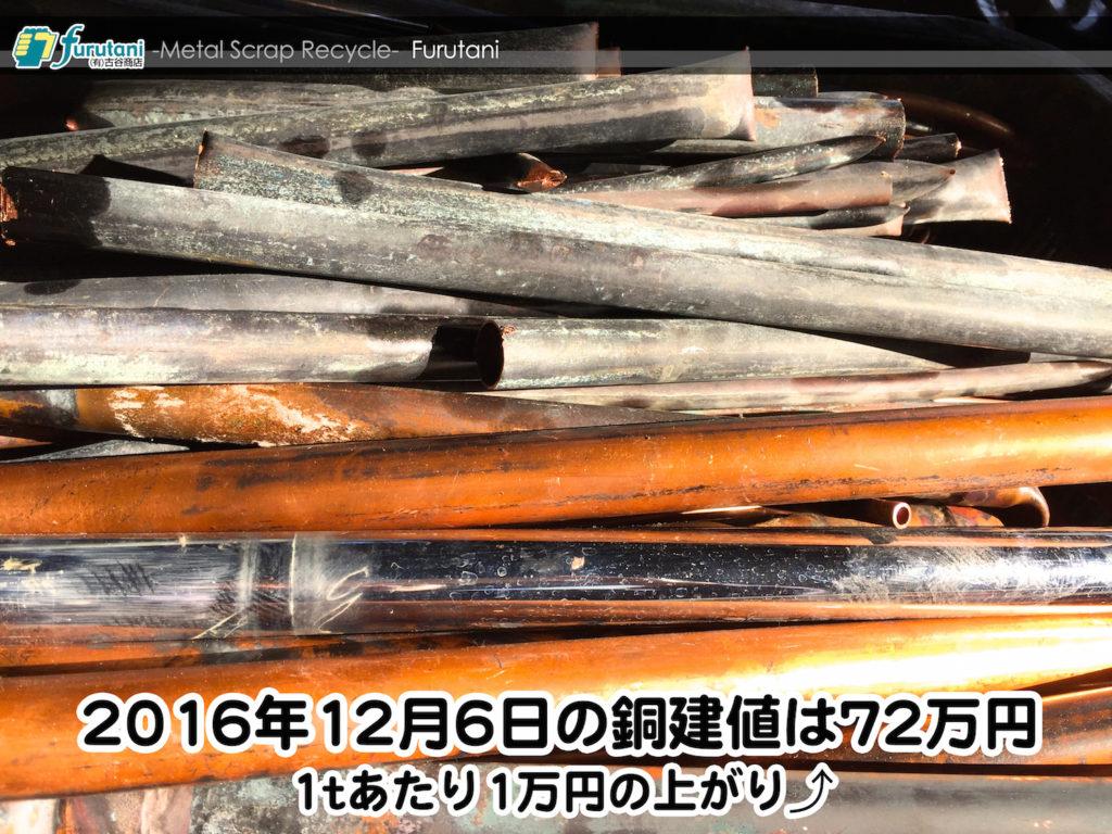 【銅相場情報 2016.12.6】1tあたり1万円上がりの72万円に改定⤴