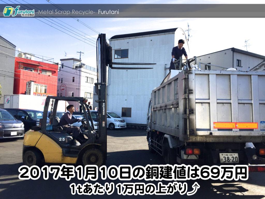 【銅相場情報 2017.1.10】1tあたり1万円上がりの69万円⤴