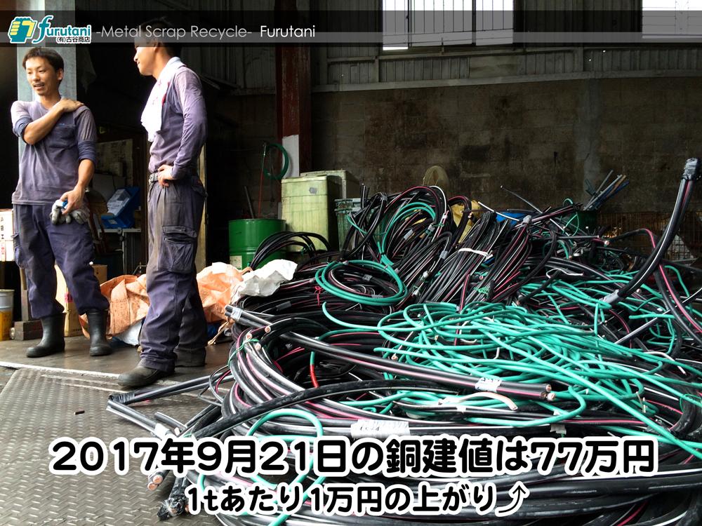 【銅相場情報 2017.9.21】1tあたり1万円UPの77万円に改定⤴(^▽^)
