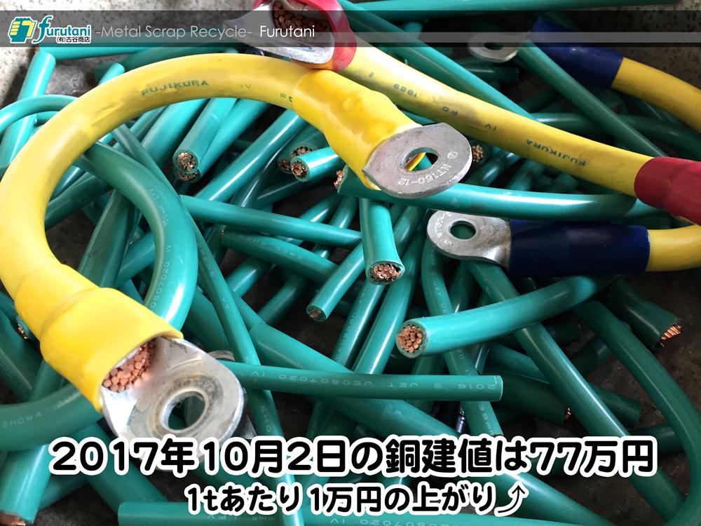 【銅建値情報 2017.10.2】1tあたり1万円上がりの77万円に改定☆⤴