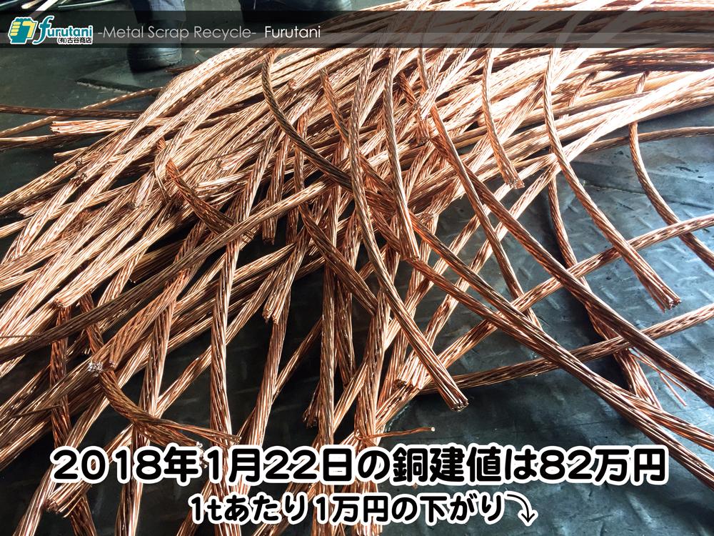 【銅建値情報 2018.1.22】1tあたり1万円下がりの82万円に改定☆⤵