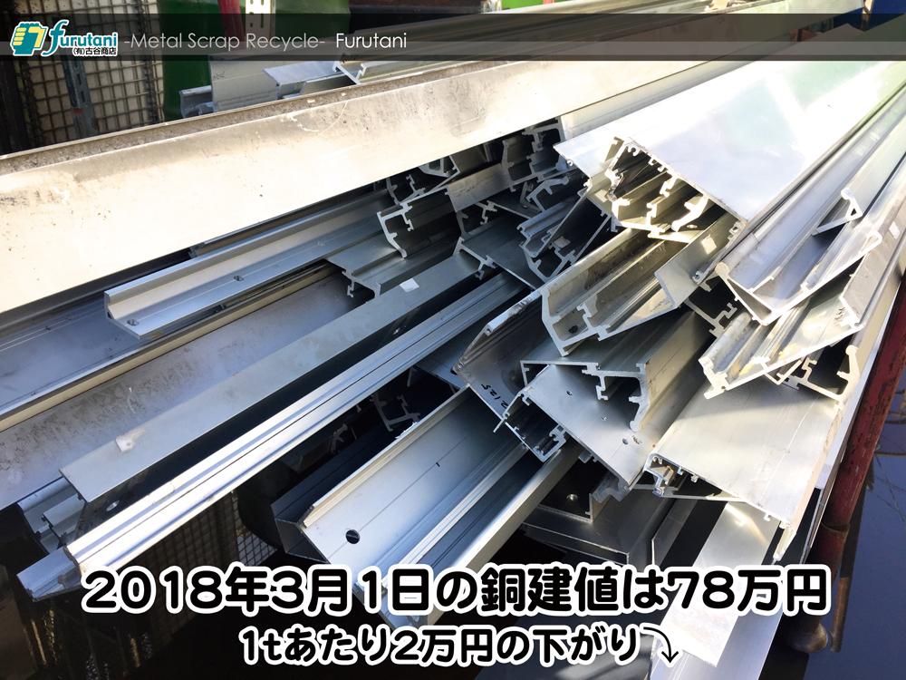 【銅建値情報 2018.3.1】1tあたり2万円下がりの78万円に改定☆⤵