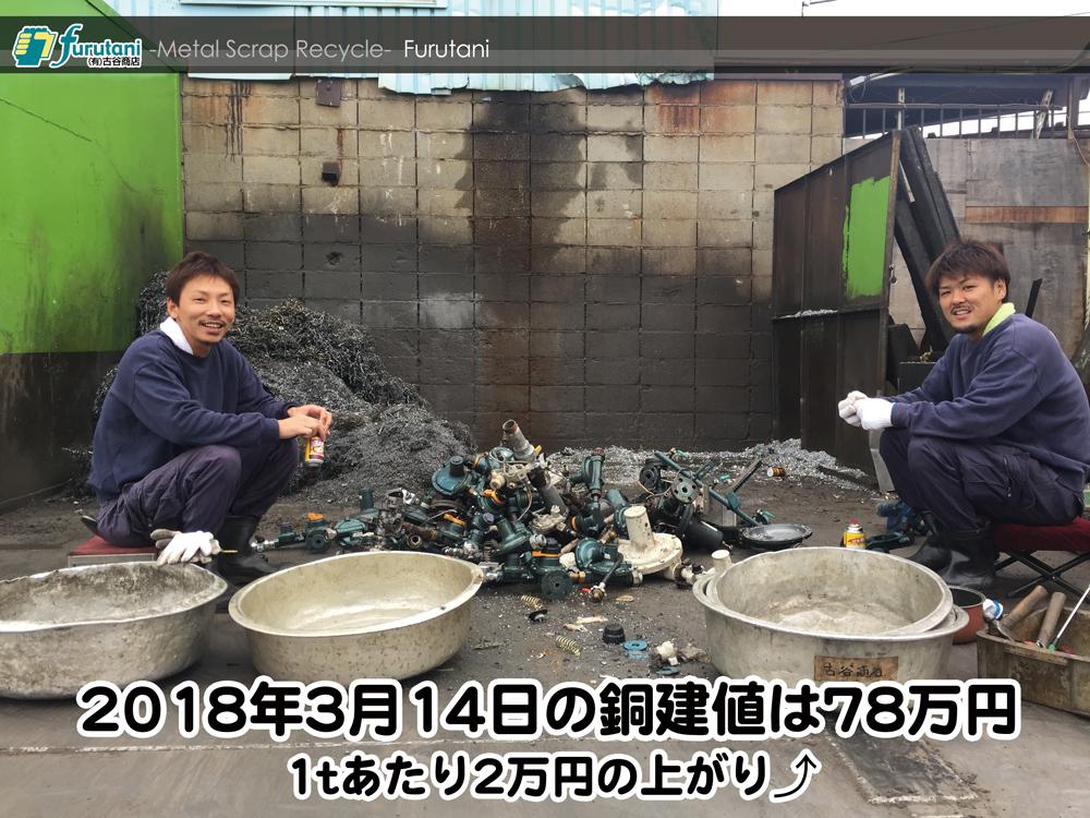 【銅建値情報 2018.3.14】1tあたり2万円上がりの78万円に改定⤴⤴