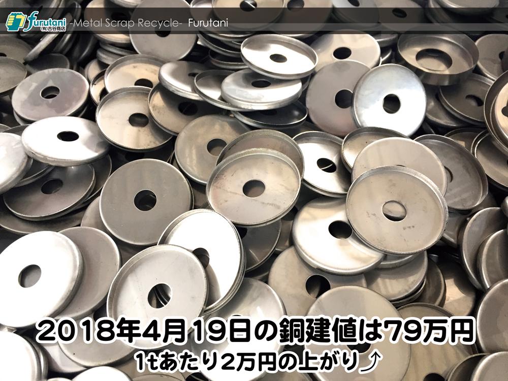 【銅建値情報 2018.4.19】1tあたり2万円上がりの79万円に改定☆⤴⤴