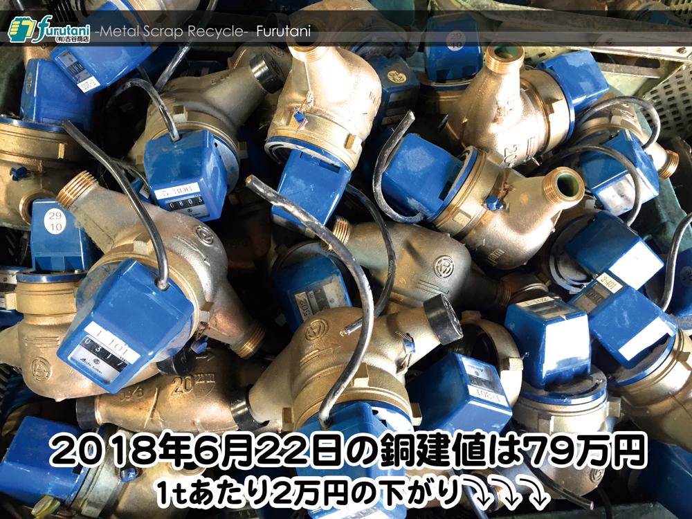【銅建値情報 2018.6.22】1tあたり2万円下がりの79万円に改定☆⤵⤵
