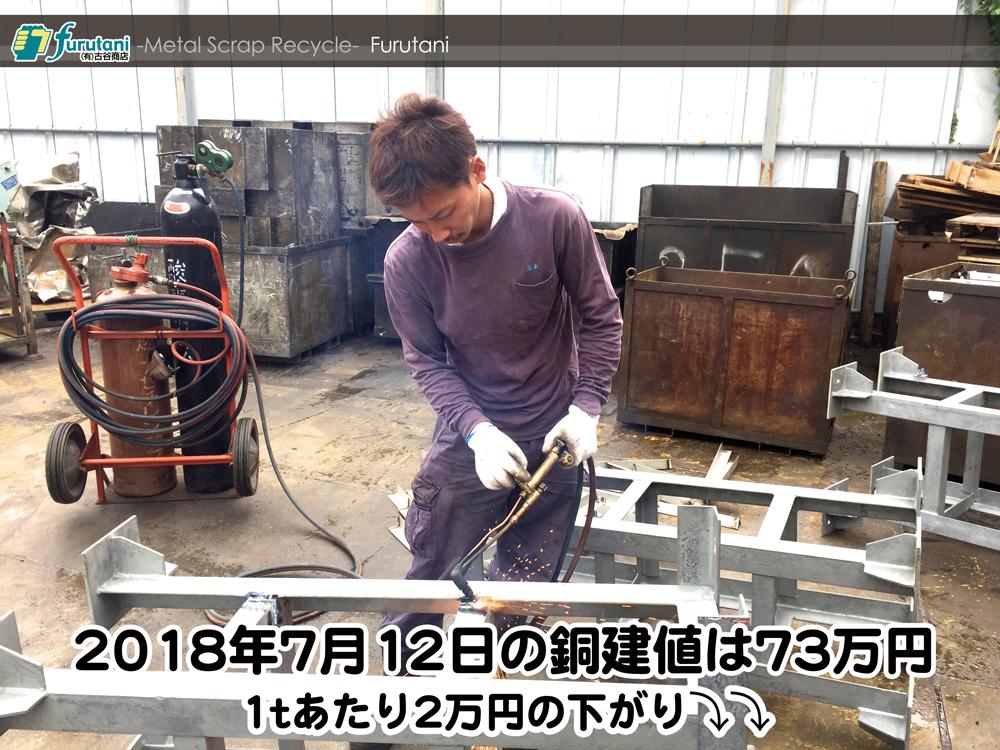 【銅建値情報2018.7.12】1tあたり2万円下がりの73万円に改定☆⤵⤵