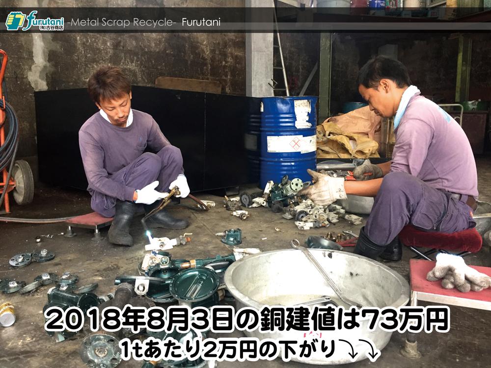 【銅建値情報 2018.8.3】1tあたり2万円下がりの73万円に改定⤵⤵