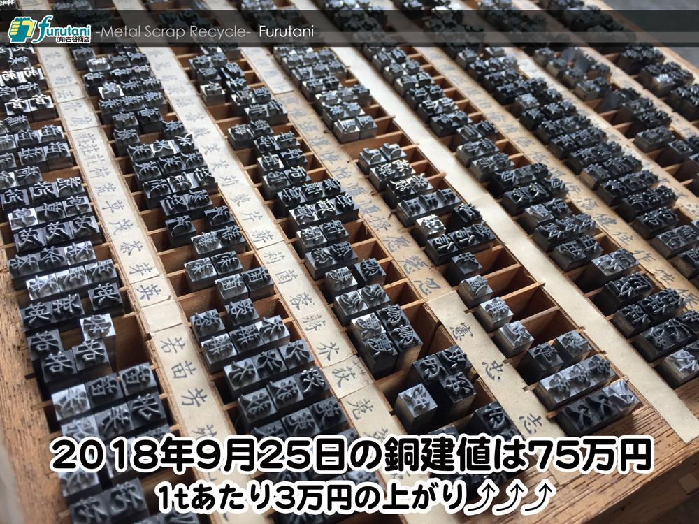 【銅建値情報 2018.9.25】1tあたり3万円上がりの75万円に改定⤴⤴⤴