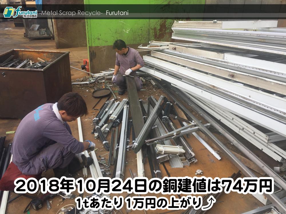 【銅建値情報 2018.10.24】1tあたり1万円上がりの74万円に改定☆⤴
