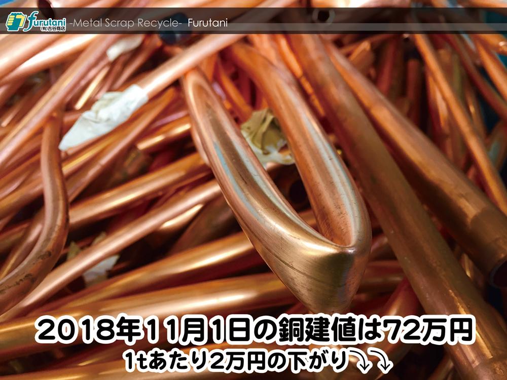 【銅建値情報 2018.11.1】1tあたり2万円下がりの72万円に改定⤵⤵