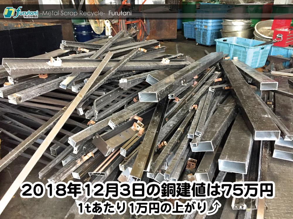 【銅建値情報 2018.12.3】1tあたり1万円上がりの75万円に改定☆⤴