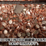 【銅建値情報 2019.1.7】1tあたり1万円下がりの69万円に改定☆⤵