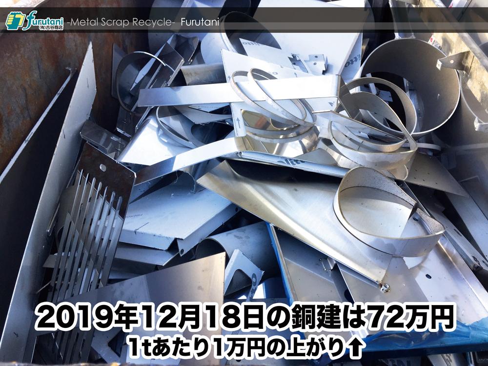 【銅建値情報 2019.12.18】1tあたり1万円上がりの72万円に改定⬆