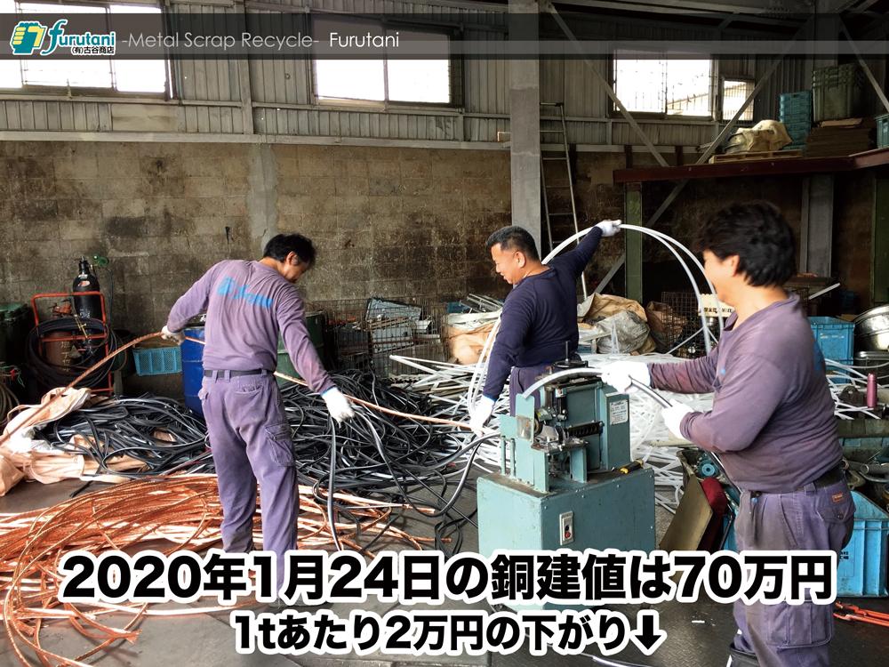 【銅建値情報 2020.1.24】1tあたり2万円下がりの70万円に改定⬇