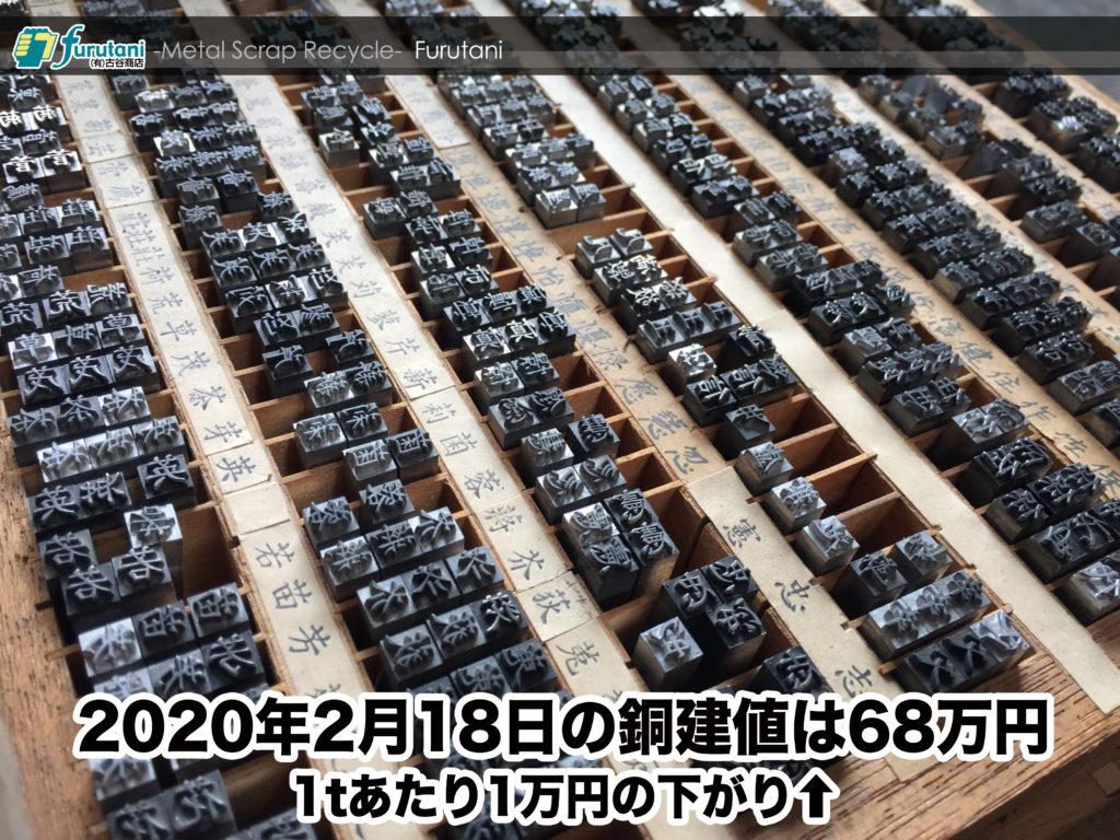 【銅相場情報 2020.2.18】1tあたり1万円上がりの68万円に改定⬆