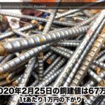 【銅建値情報 2020.2.25】1tあたり1万円下がりの67万円に改定☆⤵
