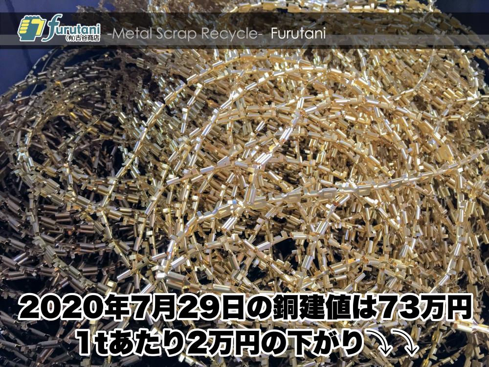 【銅建値情報 2020.7.29】1tあたり2万円下がりの73万円に改定⤵⤵