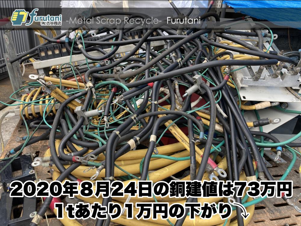 【銅建値情報 2020.8.24】1tあたり1万円下がりの73万円に改定⤵