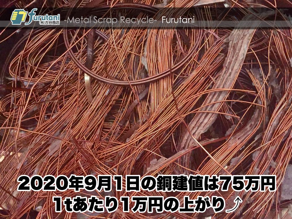 【銅建値情報 2020.9.1】1tあたり1万円上がりの75万円に改定☆⤴