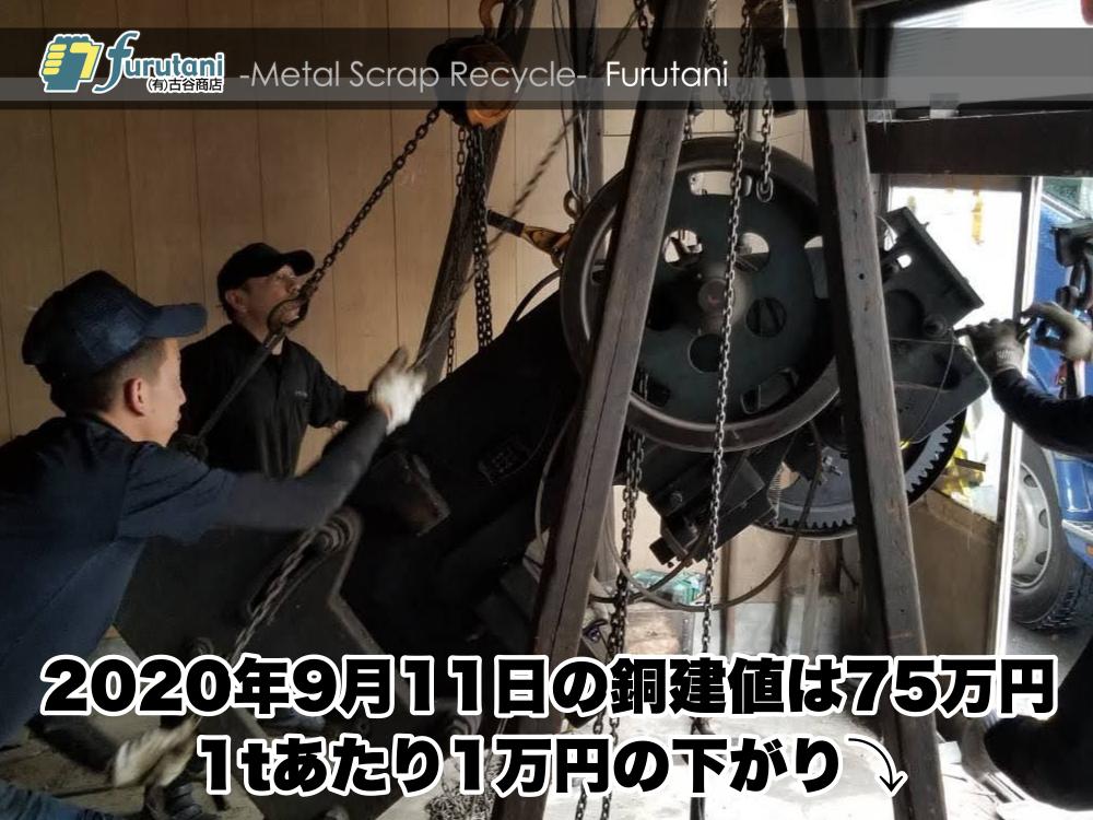 【銅相場情報 2020.9.11】1tあたり1万円下がりの75万円に改定⤵