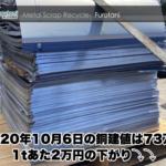 【銅建値情報 2020.10.6】1tあたり2万円下がりの73万円に改定⤵⤵