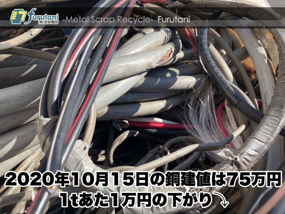 【銅建値情報 2020.10.15】1tあたり1万円下がりの75万円に改定⤵