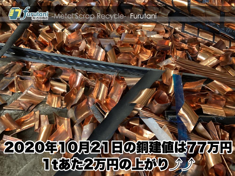 【銅建値情報 2020.10.21】1tあたり2万円上がりの77万円に改定⤴⤴