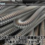 【銅建値情報 2020.11.12】1tあたり1万円上がりの77万円に改定☆⤴
