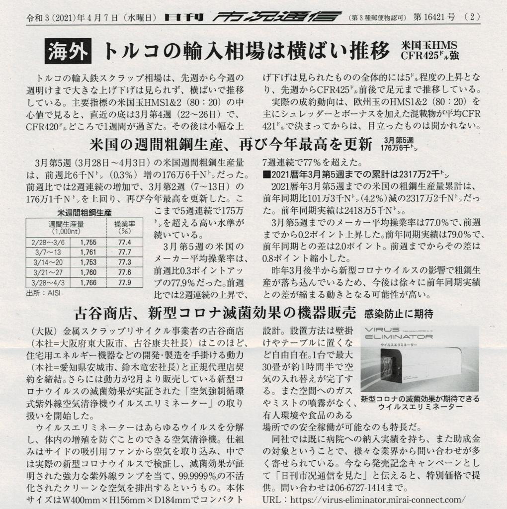 【日刊市況通信】2021年4月7日