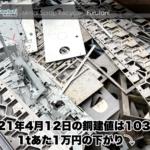 【銅建値情報 2021.4.12】1あたり1万円下がりの103万円に改定⤵