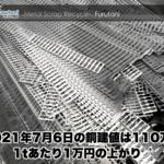 【銅建値情報 2021.7.6】1tあたり1万円上がりの110万円に改定⤴
