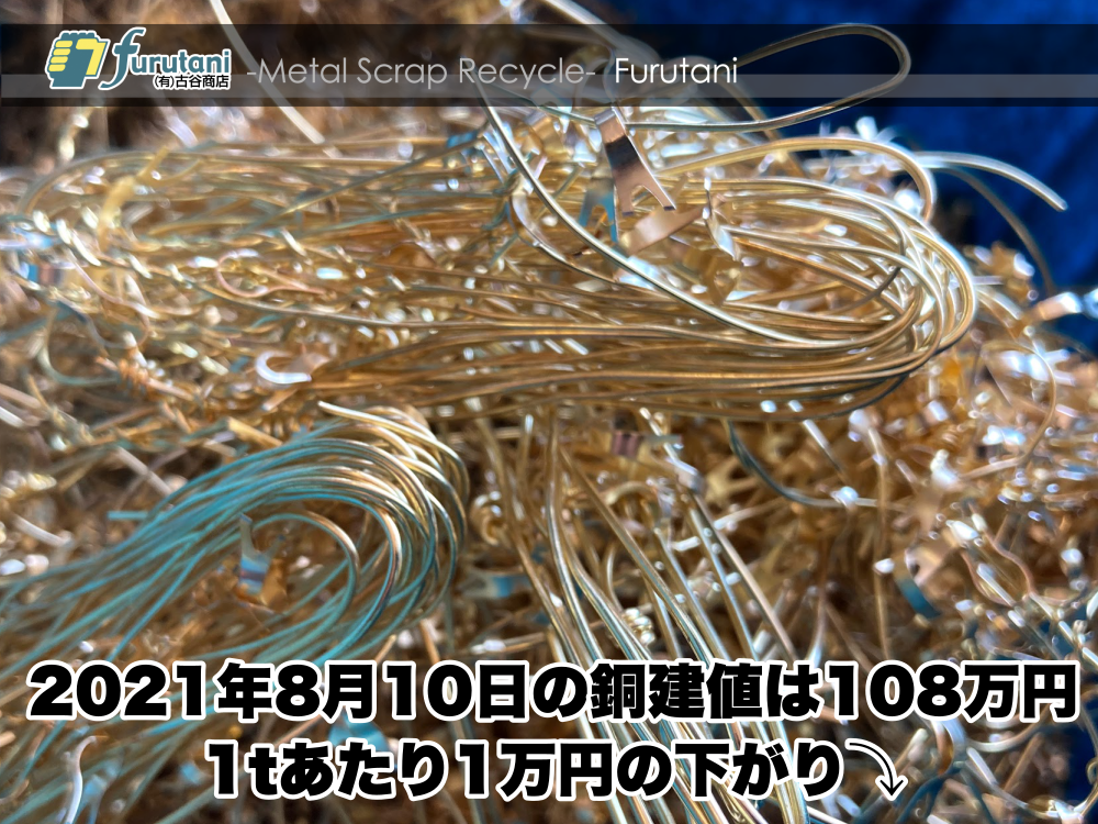 【銅建値情報 2021.8.10】1tあたり1万円下がりの108万円に改定⤵