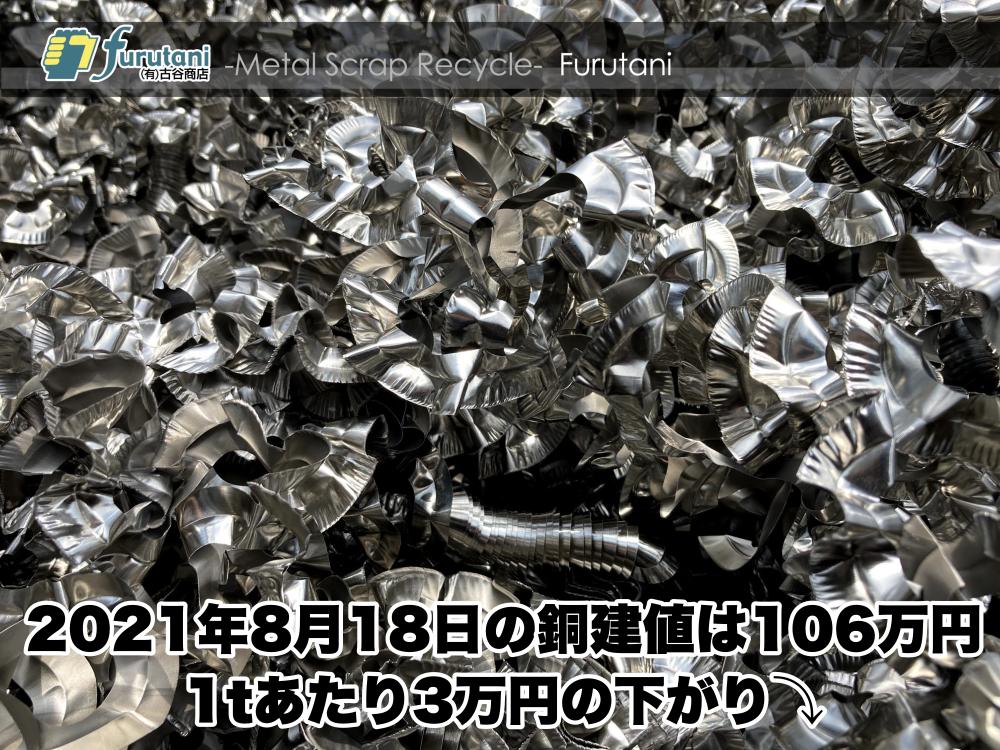 東大阪のスクラップ屋、古谷商店が2021年8月18日の銅建値をお知らせします☆(^▽^)